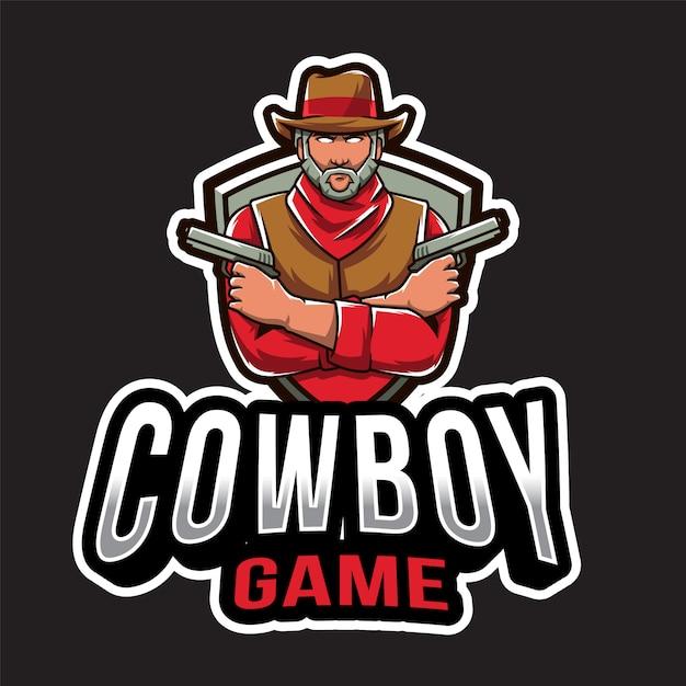 Modèle De Logo De Jeu Cowboy Vecteur Premium
