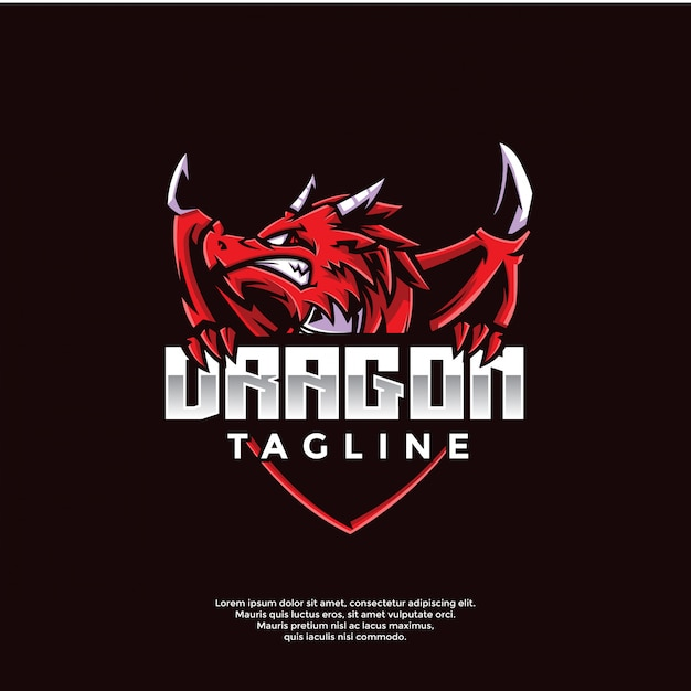 Modèle De Logo De Jeu De Dragon Vecteur Premium