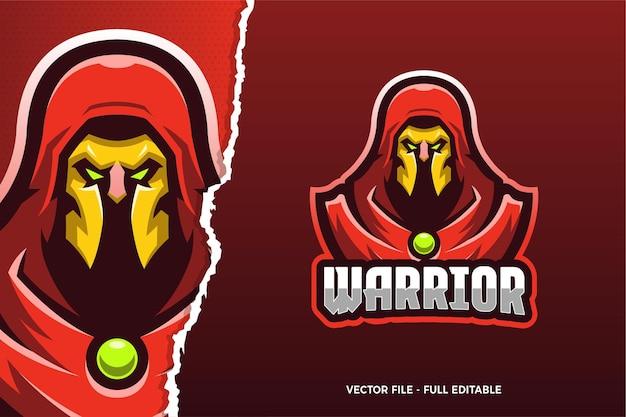 Modèle De Logo De Jeu E-sport Red Cloak Warrior Vecteur Premium