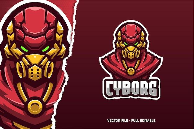 Modèle De Logo De Jeu E-sport Robot Rouge Vecteur Premium