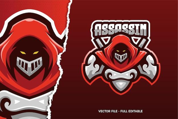 Modèle De Logo De Jeu De Sport électronique Assassin De Manteau Rouge Vecteur Premium