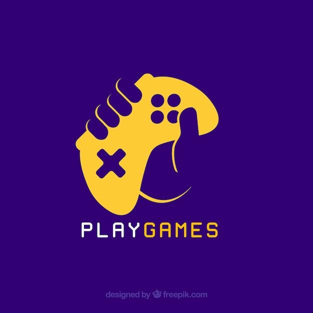 Modèle de logo de jeu vidéo avec joystick Vecteur gratuit