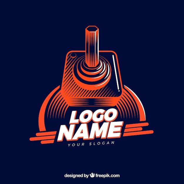 Modèle de logo de jeu vidéo avec style rétro Vecteur gratuit