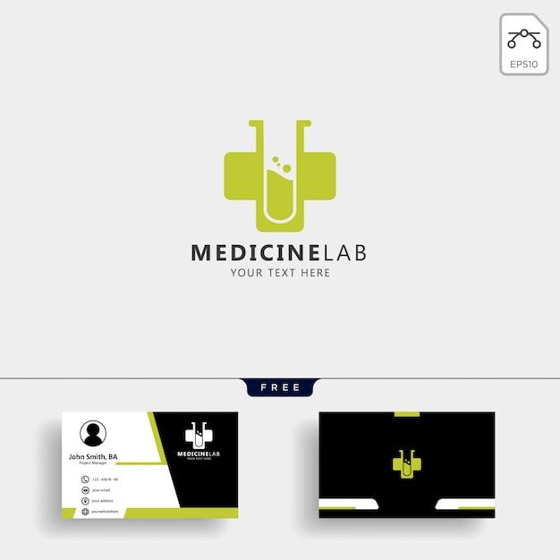Modèle de logo de laboratoire croix médecine avec carte de visite Vecteur Premium