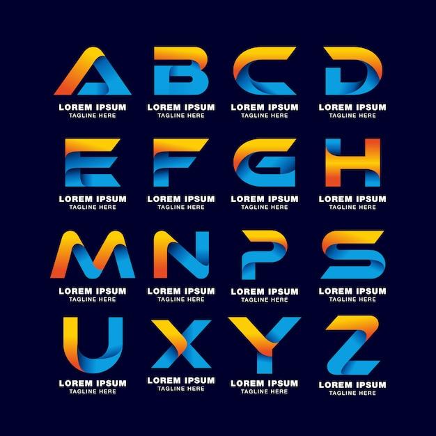 Modèle de logo lettre alphabet dans le style de dégradés. couleur bleue, jaune et orange Vecteur Premium
