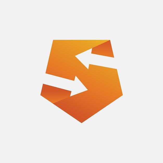 Modèle de logo lettre s flèche et bouclier Vecteur Premium