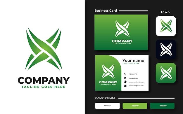 Modèle De Logo Lettre X Et Carte De Visite Vecteur Premium
