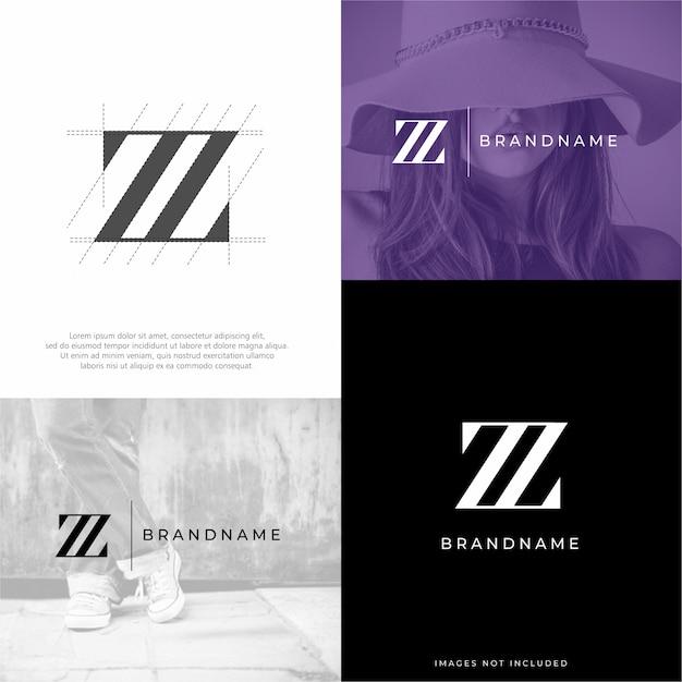 Modèle de logo lettre z zz Vecteur Premium