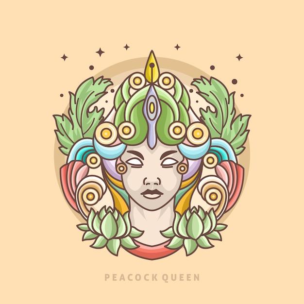 Modèle de logo de ligne de reine de paon Vecteur Premium