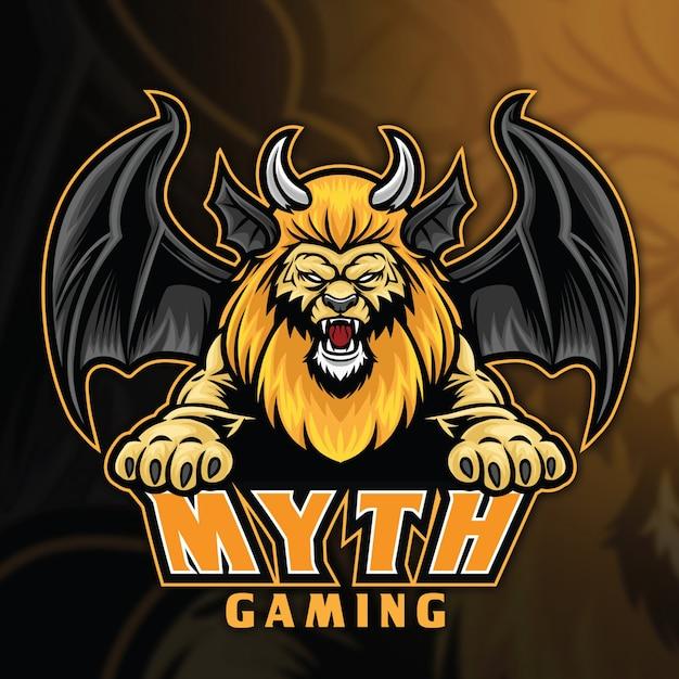 Modèle De Logo Lion Chimera Myth Esport Vecteur Premium