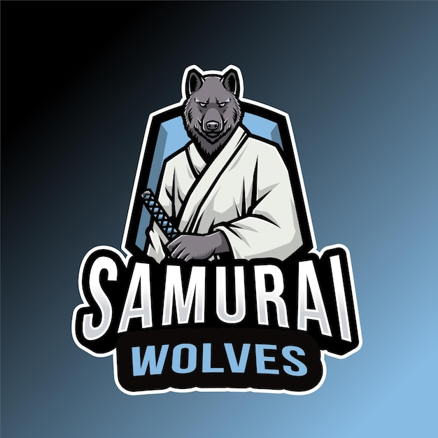 Modèle De Logo De Loups Samouraïs Vecteur Premium