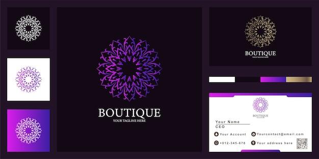Modèle De Logo De Luxe Fleur, Boutique Ou Ornement Avec Carte De Visite. Vecteur Premium