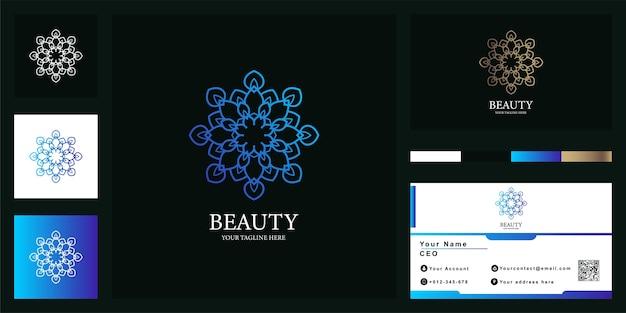 Modèle De Logo De Luxe Fleur, Mandala Ou Ornement Avec Carte De Visite. Vecteur Premium