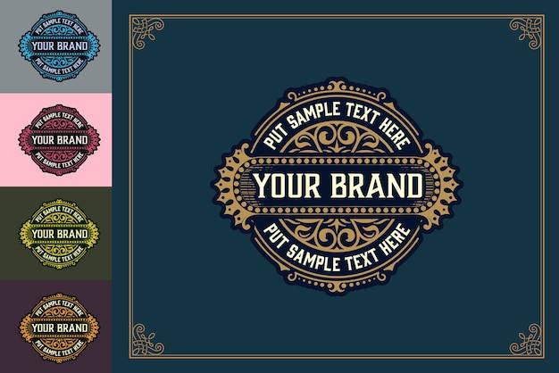Le Modèle De Logo De Luxe S'épanouit Avec Des Ornements Floraux. Illustration Vectorielle Vecteur Premium