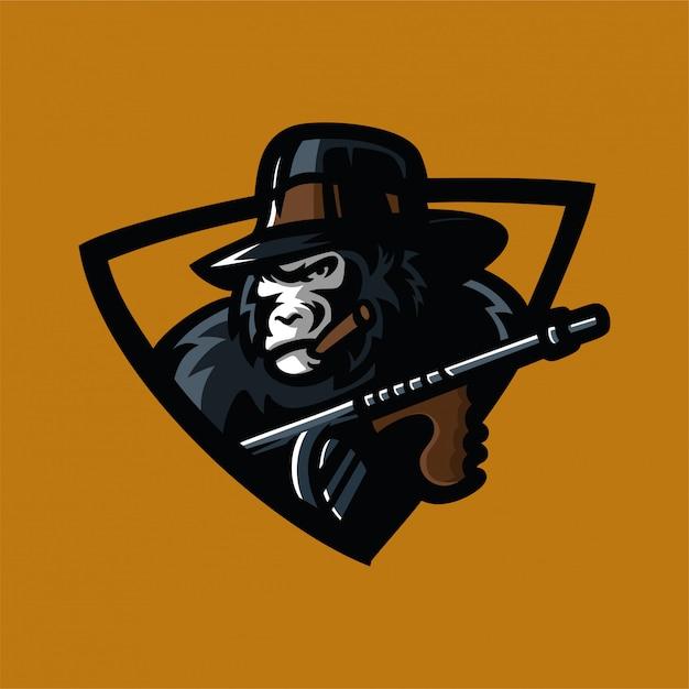 Modèle de logo mafia gorille sport jeu mascotte Vecteur Premium