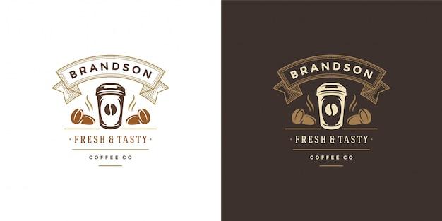 Modèle De Logo De Magasin à Emporter Café Avec Silhouette De Tasse Vecteur Premium