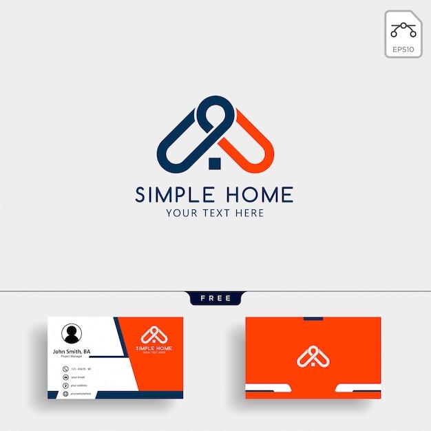 Modèle de logo de maison immobilier avec carte de visite Vecteur Premium