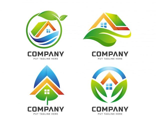 Modèle De Logo De Maison Verte Pour Entreprise Vecteur Premium