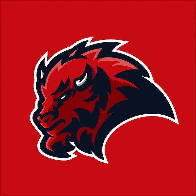 Modèle de logo mascotte bison esport gaming Vecteur Premium