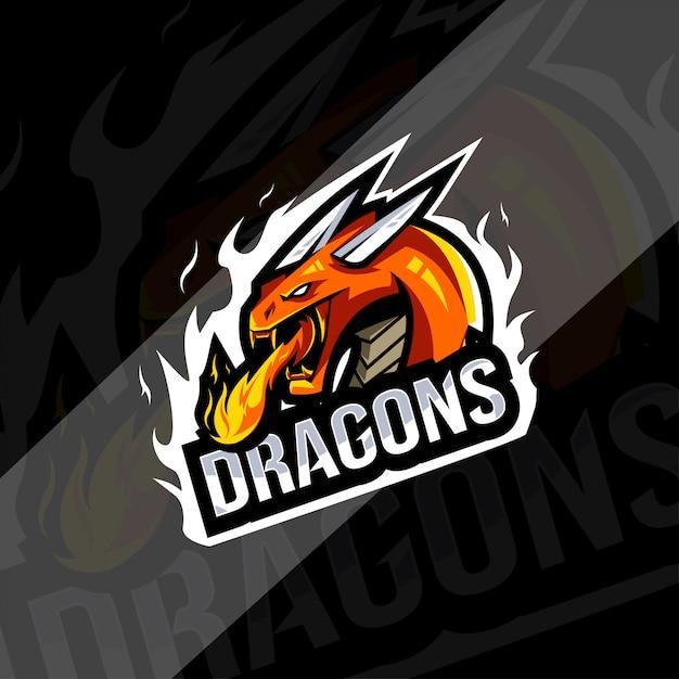Modèle De Logo De Mascotte De Dragon Vecteur Premium