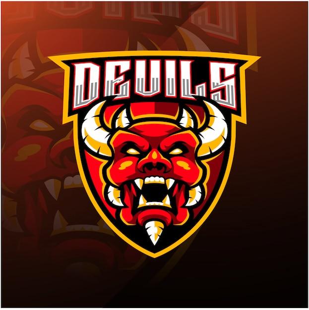 Modèle De Logo Mascotte Esport Tête Diable Vecteur Premium