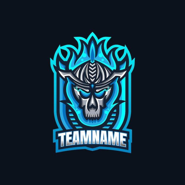Modèle De Logo De Mascotte De Jeu Esport Crâne De Feu Bleu Pour L'équipe De Streamers. Vecteur Premium