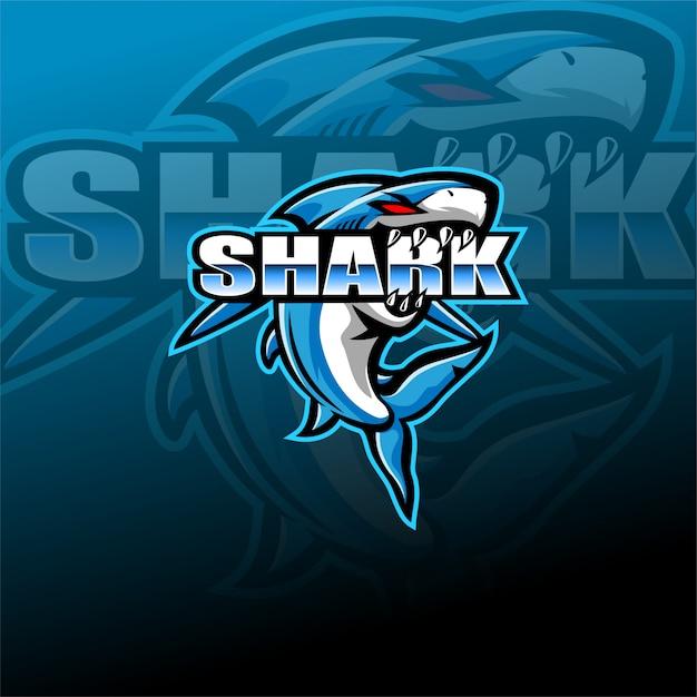 Modèle De Logo De Mascotte De Requin Esport Vecteur Premium