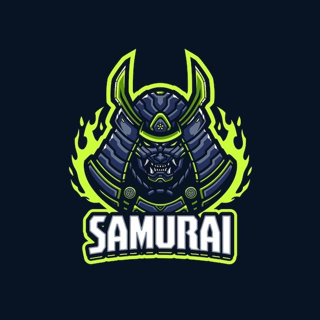Modèle De Logo Mascotte Samouraï Vecteur Premium