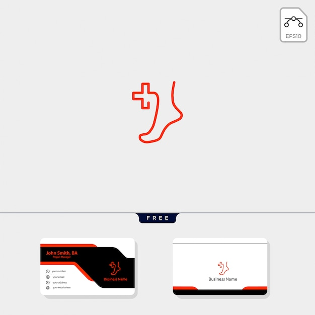 Modèle de logo médical pied, obtenez gratuitement la conception de carte de visite Vecteur Premium