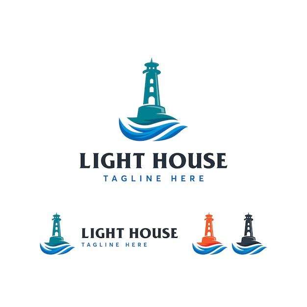 Modèle de logo mercusuar light house Vecteur Premium