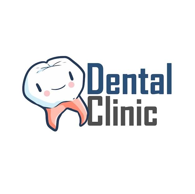 Modèle De Logo Mignon Et Drôle Pour Entreprise De Clinique Dentaire Vecteur Premium