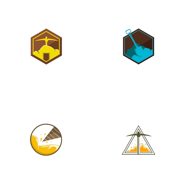 Modèle de logo minier Vecteur Premium