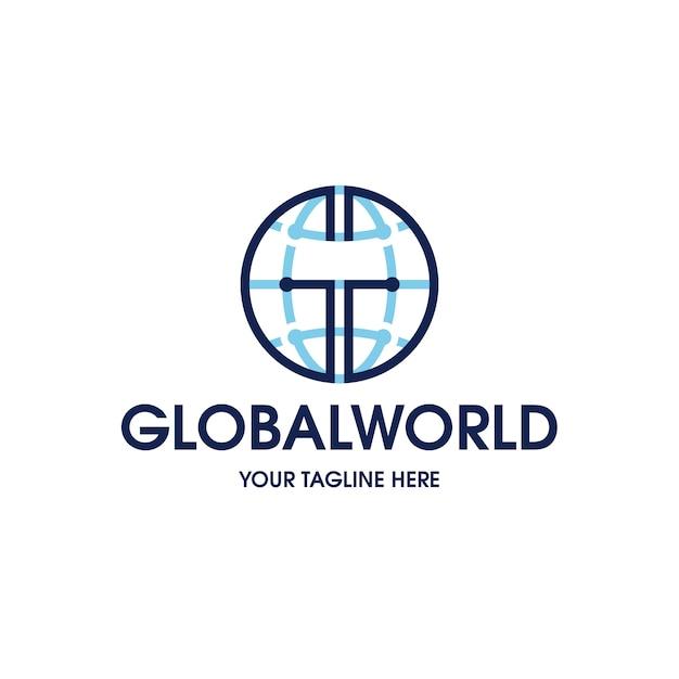 Modèle De Logo Mondial Mondial Vecteur Premium