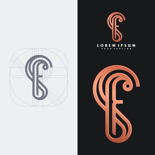 Modèle De Logo Monogramme Sf Vecteur Premium