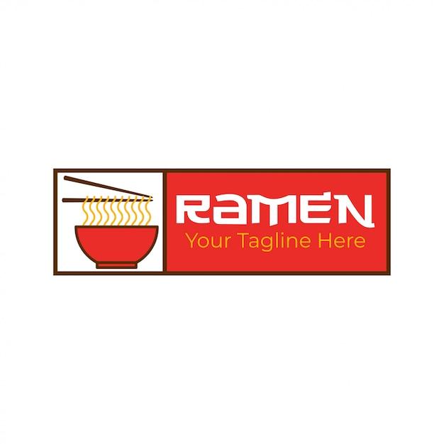 Modèle de logo de nouilles ramen Vecteur Premium
