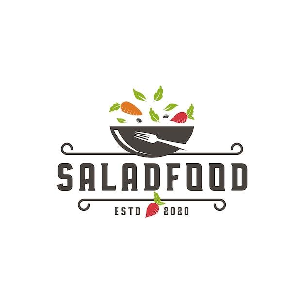 Modèle De Logo De Nourriture De Salade Vecteur Premium