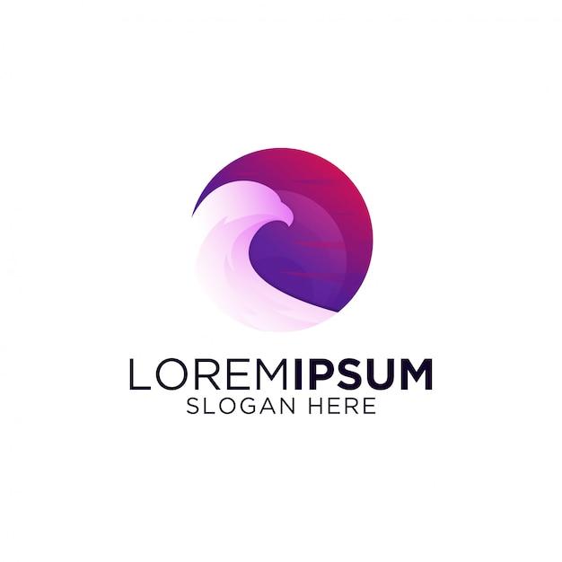 Modèle de logo oiseau génial oeuvre dégradé coloré Vecteur Premium