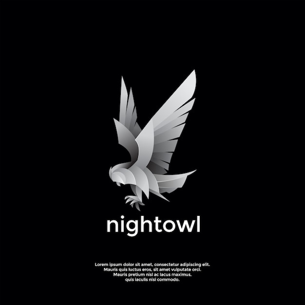 Modèle De Logo Oiseau De Nuit Vecteur Premium