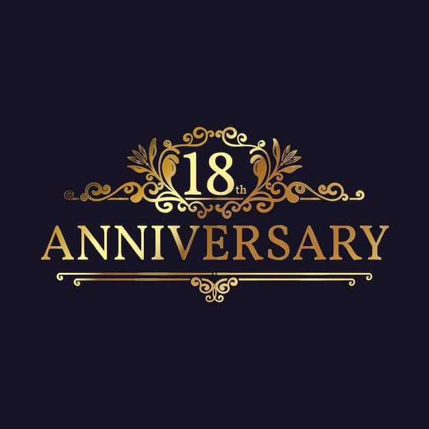 Modèle De Logo Or 18e Anniversaire Vecteur gratuit