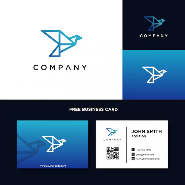 Modèle de logo origami oiseau Vecteur Premium