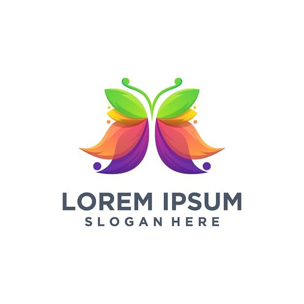 Modèle de logo papillon Vecteur Premium
