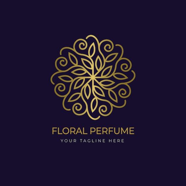 Modèle De Logo De Parfum Floral De Luxe Vecteur Premium