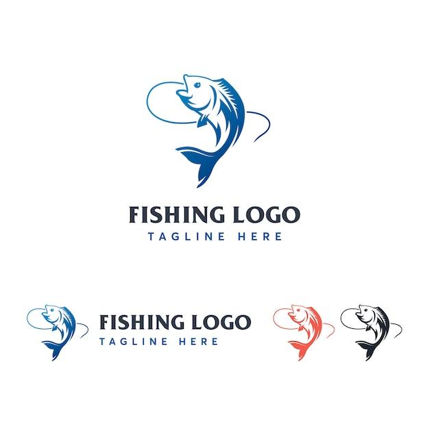 Modèle de logo de pêche Vecteur Premium