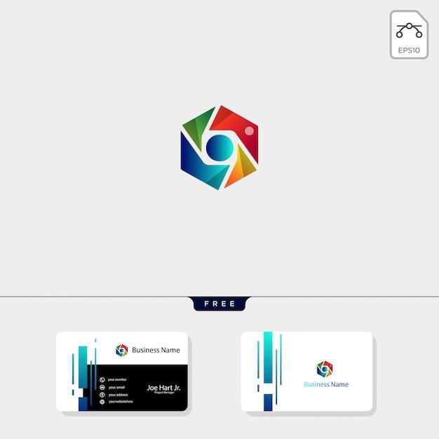 Modèle de logo photographie hexagone Vecteur Premium