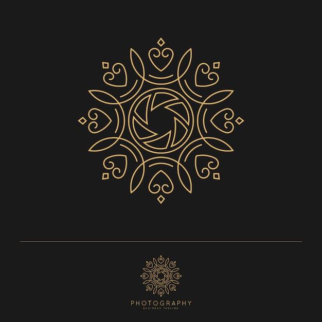 Modèle de logo de photographie de luxe élégant. Vecteur Premium