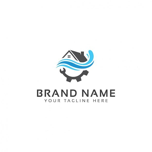 Modèle de logo de plomberie intérieure Vecteur Premium