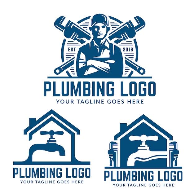 Modèle de logo de plomberie Vecteur Premium
