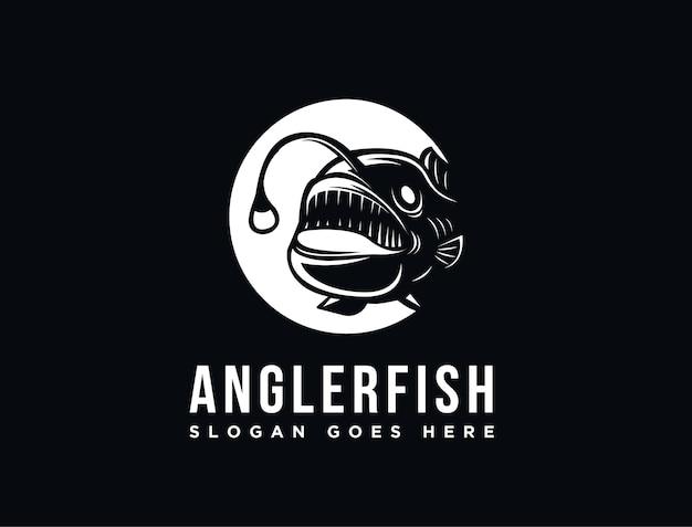 Modèle De Logo De Poisson Pêcheur De Haute Mer Vecteur Premium