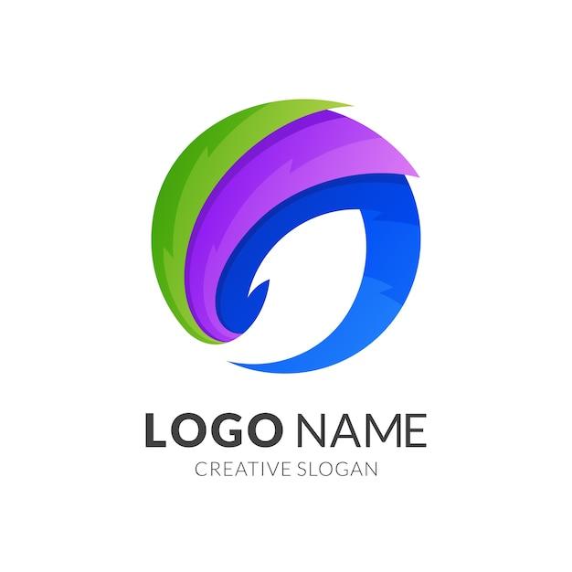 Modèle De Logo De Poisson, Style De Logo Moderne Dans Des Couleurs Vibrantes Dégradées Vecteur Premium