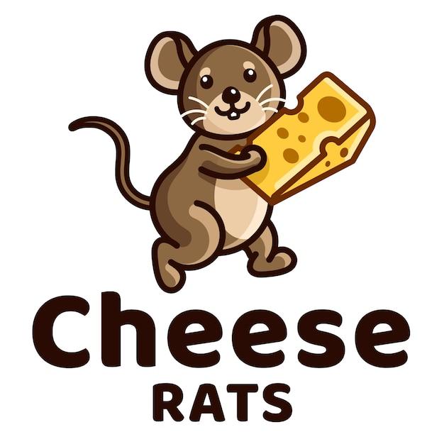 Modèle De Logo Pour Enfants Rats De Fromage Vecteur Premium